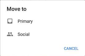 Screenshot of the Gmail app move to menu