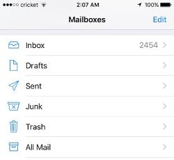 Screenshot of iPhone mailboxes screen